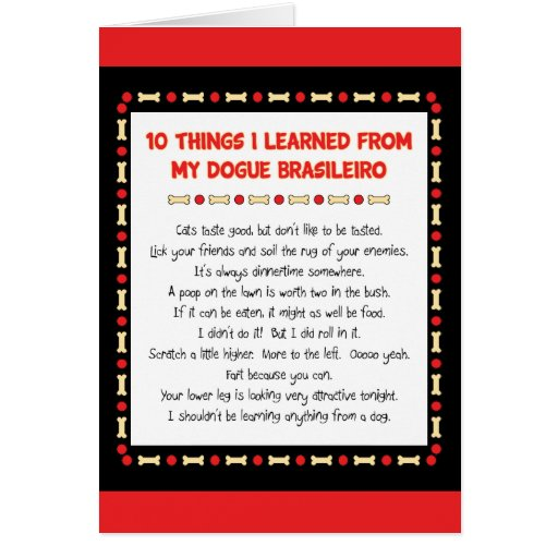 Funny Things I Learned From My Dogue Brasileiro Greeting Card
