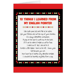 Funny Things I Learned From My English Pointer Greeting Card