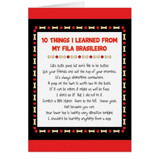 Funny Things I Learned From My Fila Brasileiro Greeting Card