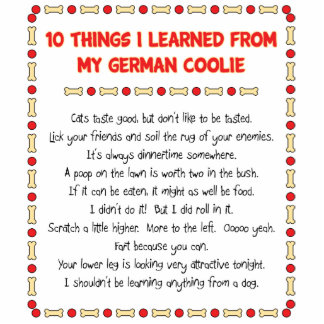 Funny Things I Learned From My German Coolie Standing Photo Sculpture