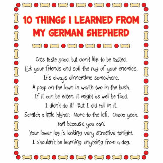 Funny Things I Learned From My German Shepherd Standing Photo Sculpture