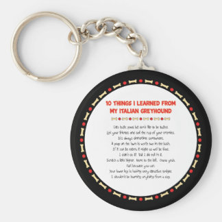 Funny Things I Learned From My Italian Greyhound Basic Round Button Key Ring
