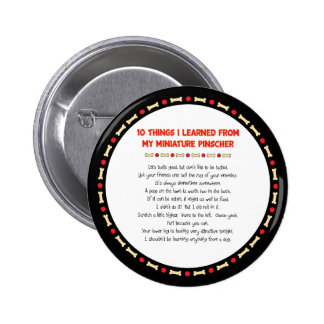 Funny Things I Learned From My Miniature Pinscher 6 Cm Round Badge
