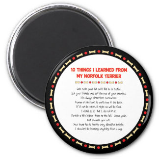 Funny Things I Learned From My Norfolk Terrier 6 Cm Round Magnet
