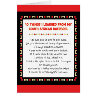 Funny Things I Learned From South African Boerboel Card