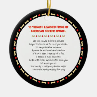 Funny Things Learned From American Cocker Spaniel Christmas Ornament