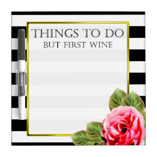 Funny Things To Do But First Wine Dry Erase Board