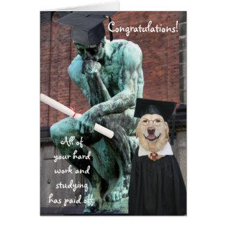 Funny Thinker & Dog Graduation Greeting Card