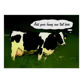 Funny Thinking Cow Poster