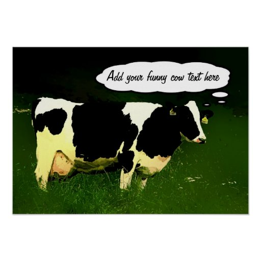 Funny Thinking Cow Print