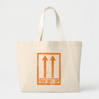 Funny 'This way up' message Large Tote Bag