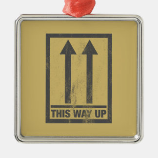 Funny this way up sign christmas ornament