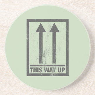 Funny this way up sign coaster