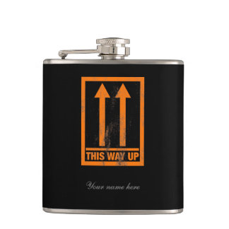 Funny 'This way' up sign Hip Flask