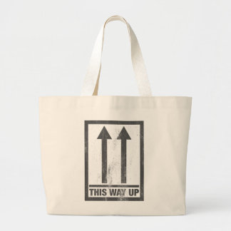 Funny this way up sign large tote bag