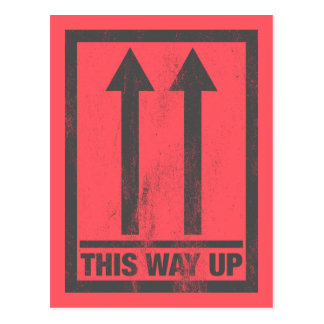 Funny this way up sign postcard