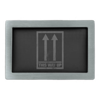 Funny this way up sign rectangular belt buckle