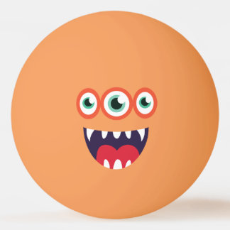 Funny Three-Eyed  Cute Monster. Ping Pong Ball