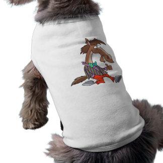 funny thumbs up nerdy horse cartoon sleeveless dog shirt