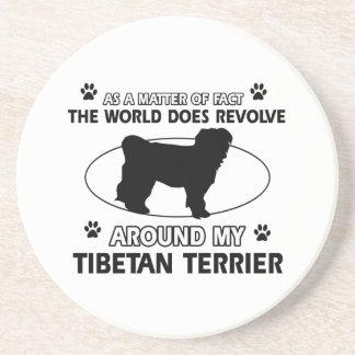 Funny tibetan terrier designs sandstone coaster