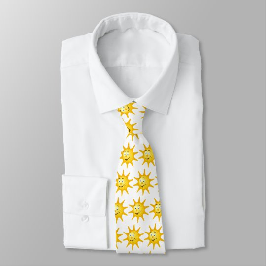 Funny tie with lovely smiling sun face