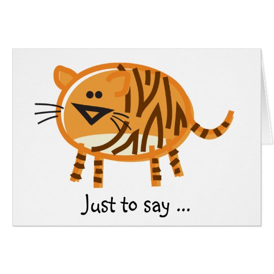 Funny Tiger on White Card