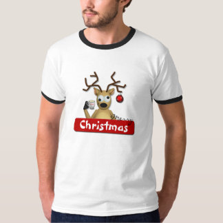 Funny Tipsy Reindeer Merry Christmas T-Shirt