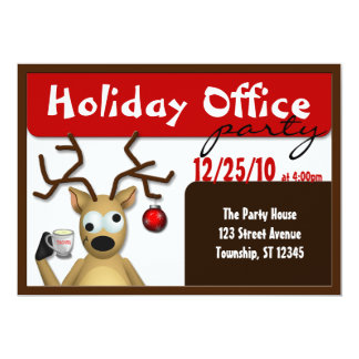 Funny Tipsy Reindeer Office Party Invitations