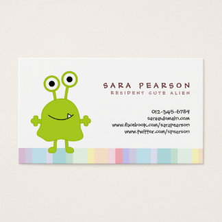 Funny Title Cute GreenMonster Alien Kids Name Card