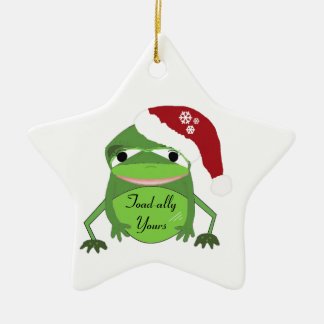 Funny Toad in a Santa Hat Ceramic Star Decoration