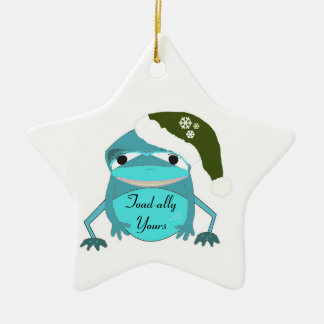 Funny Toad in a Santa Hat Christmas Tree Ornaments