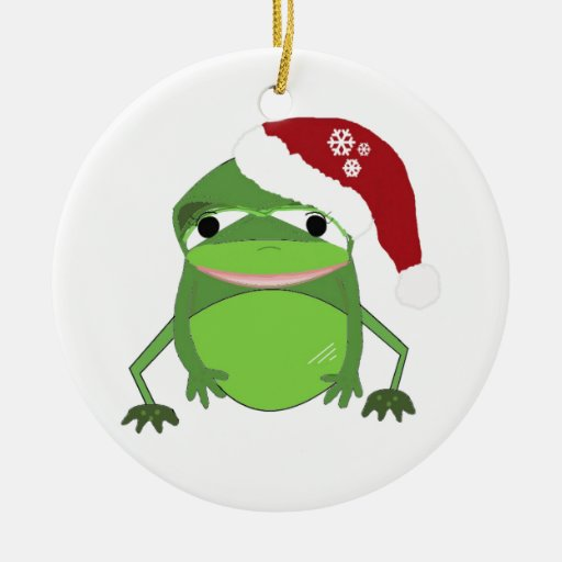 Funny Toad in a Santa Hat Ornaments