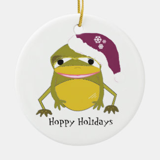Funny Toad in a Santa Hat Round Ceramic Decoration