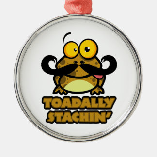 funny toadally stachin toad with a mustache Silver-Colored round decoration