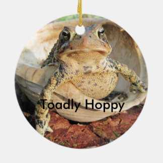 Funny Toadly Hoppy Toad Round Ceramic Decoration
