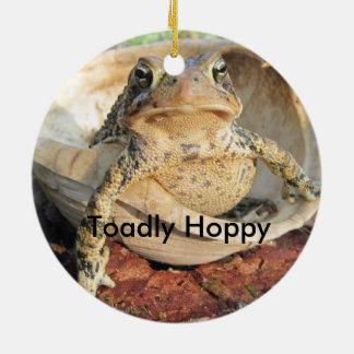 Funny Toadly Hoppy Toad Round Ceramic Decoration
