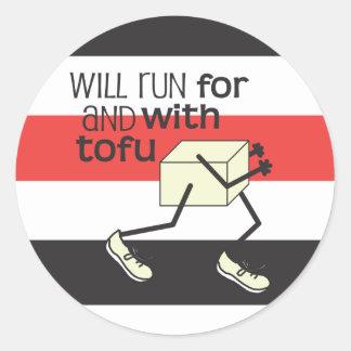 Funny TOFU Runner Round Sticker