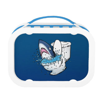 Funny Toilet Shark Cartoon Lunchbox