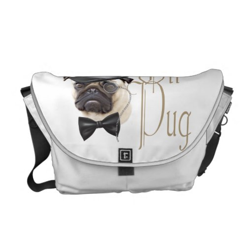 Funny Top Hat Monocle Sir Pug Dog Messenger Bags