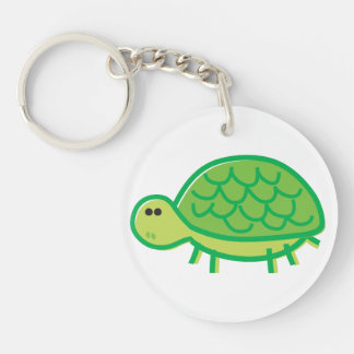 Funny Tortoise on White Key Ring