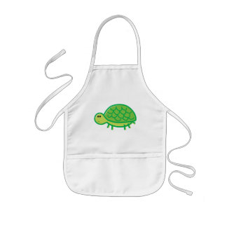 Funny Tortoise on White Kids Apron