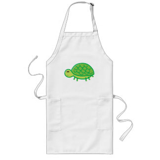 Funny Tortoise on White Long Apron
