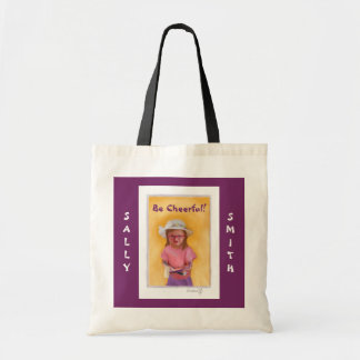 Funny Tote Bags for Women Be Cheerful Girl Purple