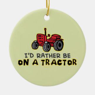 Funny Tractor Round Ceramic Decoration