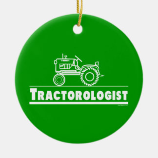 Funny Tractor Round Ceramic Decoration
