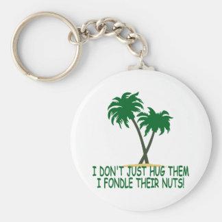 Funny tree hugger basic round button key ring