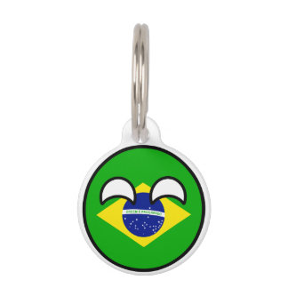 Funny Trending Geeky Brazil Countryball Pet Name Tag