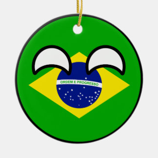 Funny Trending Geeky Brazil Countryball Round Ceramic Decoration