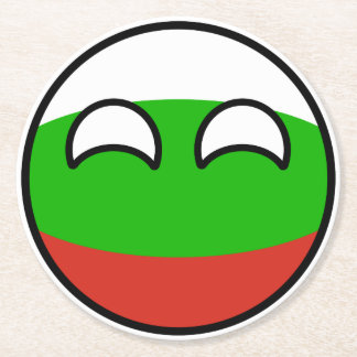 Funny Trending Geeky Bulgaria Countryball Round Paper Coaster