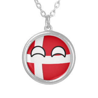 Funny Trending Geeky Denmark Countryball Silver Plated Necklace